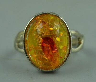 Fine China Style Collectible Tibet Silver Inlay Amber Resin Rare Delicate Ring