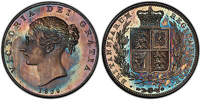 GREAT BRITAIN Victoria 1839 AR Halfcrown PCGS PR65 Superbly toned, exceptional.