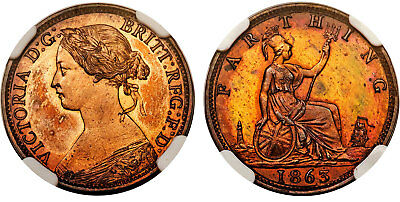 GREAT BRITAIN Victoria 1863 AE Farthing NGC PR64BN Extremely rare in proof