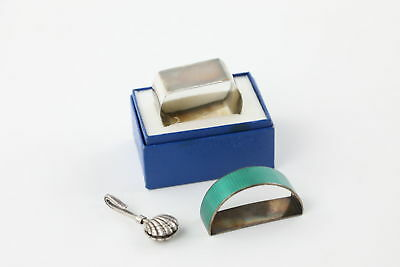 3 x Vintage .925 STERLING SILVER Napkin Rings & Napkin Holder Inc. Enamel 54g