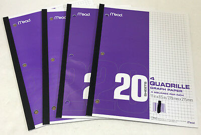 NEW Mead Graph Paper 4 Quadrille Pads 4 Squares per Inch Lot of 4