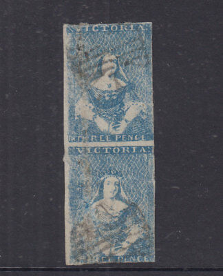 VICTORIA 1850 3d Blue HALFLENGTH-Ham Print-SG4a Cat £900 used pair one faulty