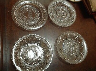 Antique Lacy Sandwich Glass Cup Plate Butterfly Heart ship eagle monument lot 4