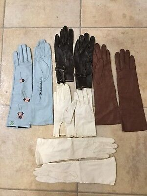 Lot of 5 Vintage pairs Ladies leather gloves. 2 white, 2 brown 1 Baby Blue