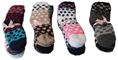 12 Pairs Womens Fuzzy Socks with Grippers, Polka Dot Colorblock Slipper Sock