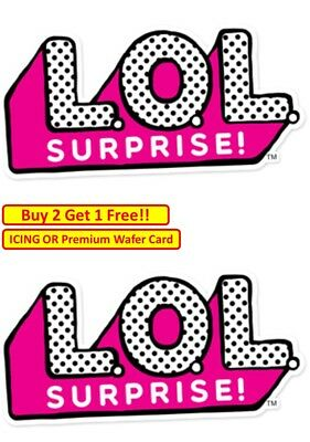 x 2 LOL Suprise Doll Logo Birthday Cup Cake Toppers Edible Wafer OR Icing Party