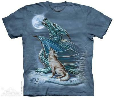 Dragon & Wolf Howling Full Moon The Mountain T-Shirt (3194) All Sizes