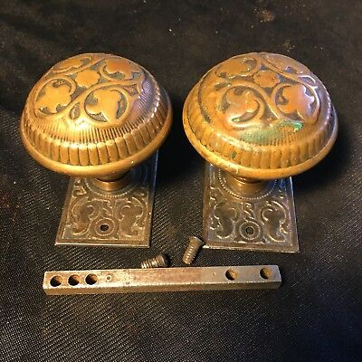 ANTIQUE Russell And Erwin  Bronze Design BACKPLATES & DOORKNOBS Very Ornate