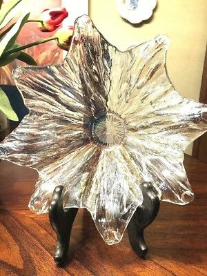 Vintage Murano Art Glass Bowl Italy Ruffled Stunning- With Original Sticker!