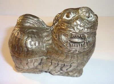 Antique Asian Burmese? Chinese? Silver Figural FOO DOG Trinket or Betel Box