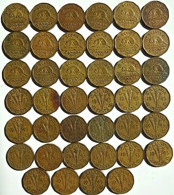 Canada Tombac 5 Cent Roll of 40 1942 1943 Many AU
