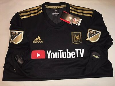 3496b53cc adidas LAFC Authentic Home Jersey 2018 Black Gold Size Large Carlos Vela