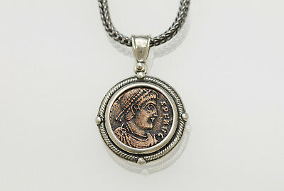 Sterling Silver Necklace with a Genuine Ancient Roman Bronze Coin. w/Cert -007