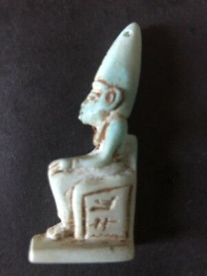 Rare Ancient Egyptian Seated Faience Pendent (945-715 BC.)