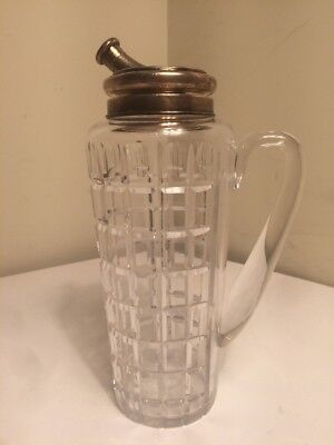 Antique Hawkes Crystal & Sterling Silver Cocktail Pitcher Decanter RARE FORM