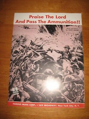 Praise the Lord and Pass the Ammunition! 1942 OG WW2 sheet music Frank Loesser