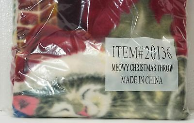 MEOWY CHRISTMAS Fleece THROW Blanket for CAT Lovers NEW in Package