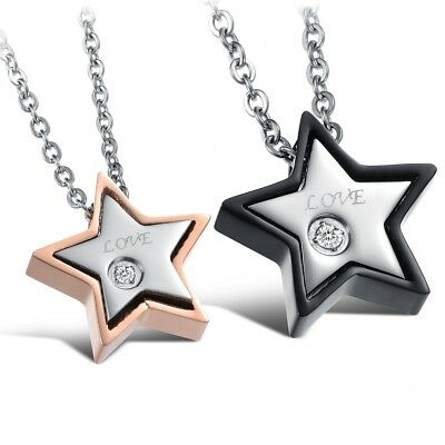 Fashion Unisex 316L Stainless Steel Star Chain Pendant Necklace Gift GX815