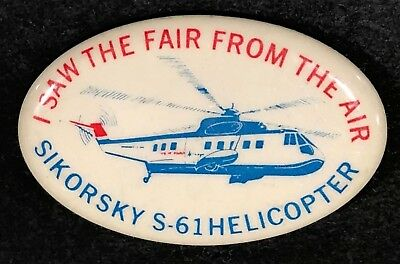Sikorsky S-61 Helicopter 1964 New York Worlds Fair Advertising Pin Airplane n1