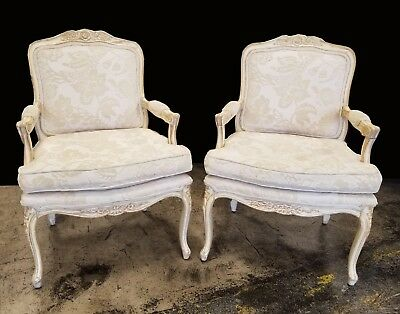 Pair of Vintage White Distressed French Provincial Country Accent Chairs