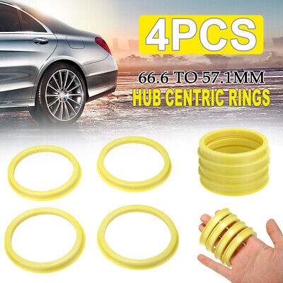 4pcs 66.6 to 57.1mm Wheel Bore Center Collar Hub Centric Ring For Audi SKODA