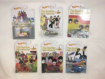 Hot Wheels The Beatles Yellow Submarine 50th Year Brand New Complete Set Of 6