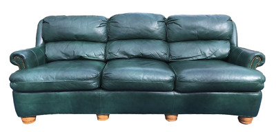 Superb Hancock Moore Green Leather 86 Austin Sofa With Nailhead Machost Co Dining Chair Design Ideas Machostcouk