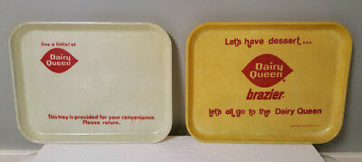 Pair 1970's Dairy Queen Serving Trays Fiberglass Used in The Restaurants