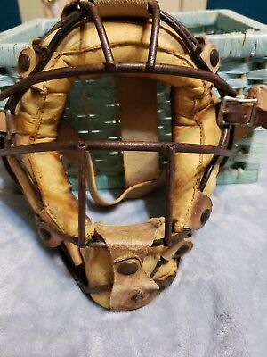 Cool Rare old Vintage Antique Catchers Mask Leather & Metal Baseball Man Cave