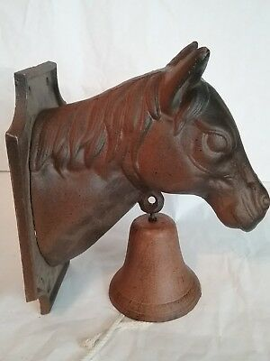 Large Cast Iron Western Horse Head Wall Mount Dinner Bell Ranch Cabin Decor