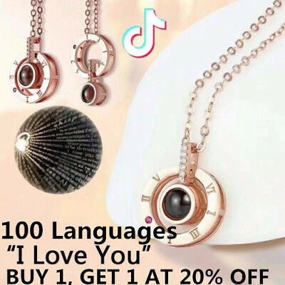 Subloom - Projection Necklace WIth 100 Languages I Love You For Memory of LOVE R