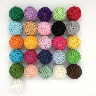 Baby 20pcs DIY Round Wooden Beads Crochet Colour Mix Ball Knit 18mm 0.70inch for
