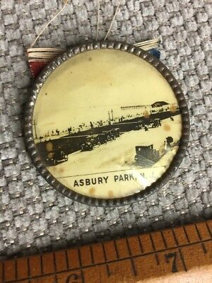 Vintage Very Old Asbury Park NJ New Jersey Celluloid Button