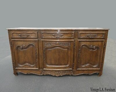 Antique Vintage Spanish Style Rustic Sideboard Buffet w Brass Hardware