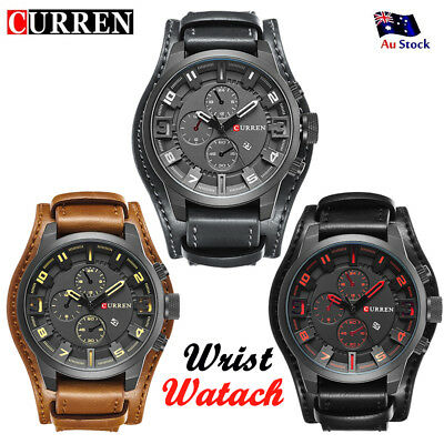 CURREN Mens Leather Date Quartz Analog Army Military Sport Casual Wrist Watch