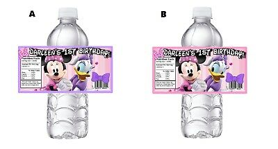 Minnie Mouse And Daisy Duck Birthday Party Favors Water Bottle Labels Wrappers