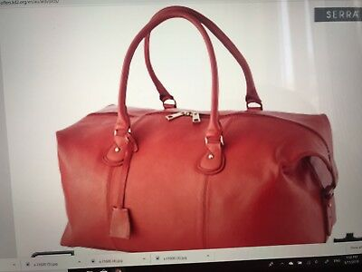 NEW Red Leather 50cm Overnight Bag