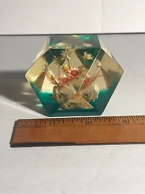 Sale.. Sale..vintage Lucite Paperweight? With Flowers Art Decoration