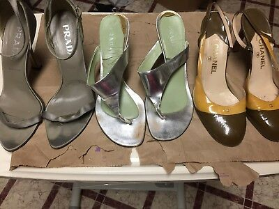 Chanel and Prada Women's Shoes Lot- Sizes 39.5-39-38