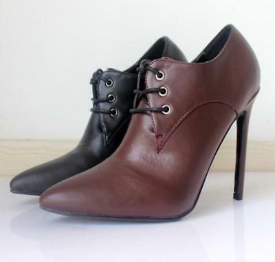 2019 Womens Fashion 12cm Brogues Oxford British Pointy Toe Sexy High Heel Shoes