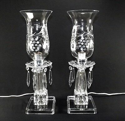 "Lovely Pair of Crystal Mantel Lusters Lamps Vintage 16"" Hanging Crystal Elec."