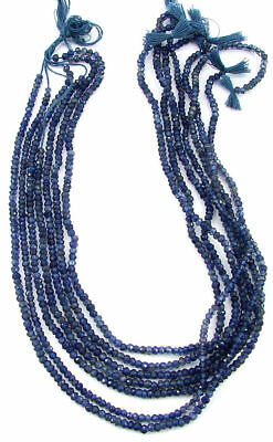 "22 Ct Natural Blue Iolite Gemstone Rondelle Loose Beads String 13"" - B213"