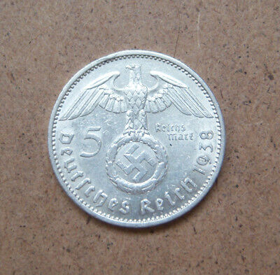 1938 5 Mark German Silver Coin WW2 Third Reich Reichsmark . Excellent coin.#10
