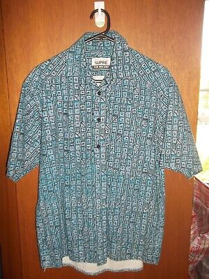 EUC 80's Vintage oversize New Wave SUPRE Mens cotton button down shirt SZ S M