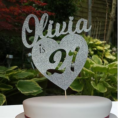 Custom Personalised Glitter Cake Topper Any Name Age Birthday Party Decoration
