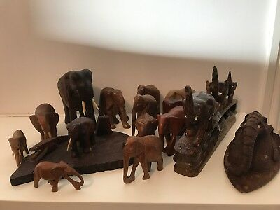 15 x Collection Of Elephants - Various  Types of Wood - Old & Vintage - Job Lot