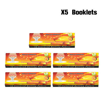 5 X HORNET 78MM Mango Fruit Flavor Cigarette Rolling Papers 50 Papers Per Pack