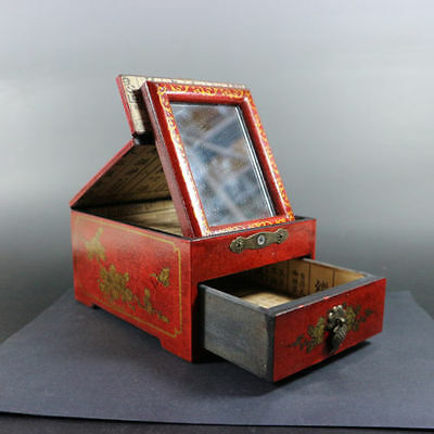 superb old china handwork wood jewelry box with draw and makeup mirror paint