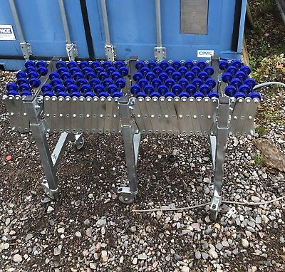 Flexible Extending Roller Conveyer Table On Wheels.  Extends To 3.8M