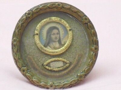 Religious Icon with Relic. Victorian. Glass Fronted with Brass Frame. Very Nice.